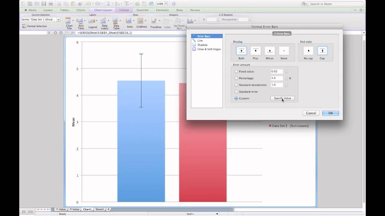 Adding standard error bars to  column graph in microsoft excel also rh youtube