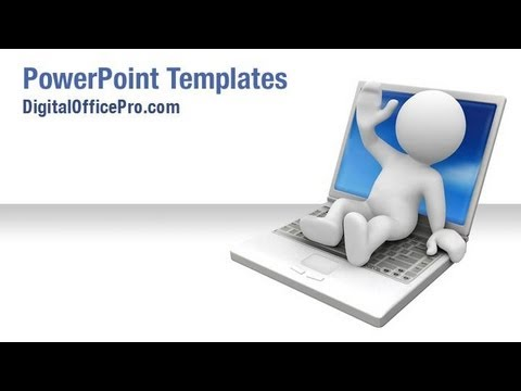 3D Man On Laptop PowerPoint Template Backgrounds   DigitalOfficePro #00521W