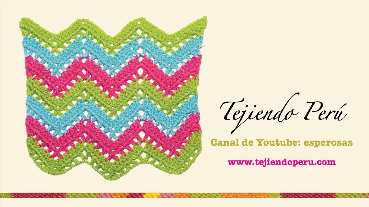 Crochet Zig Zag : Punto zig zag calado en crochet - YouTube