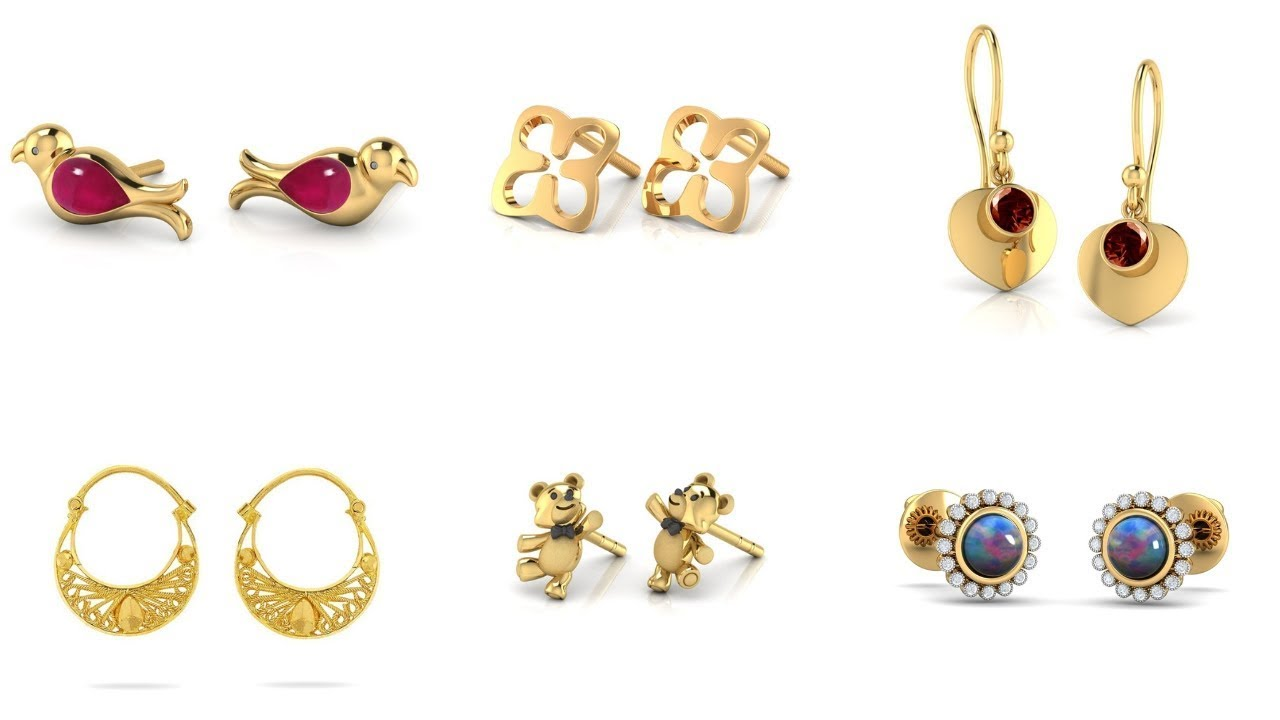 Small Gold Earrings Designs With Price Light Weight Earring Daily Wear