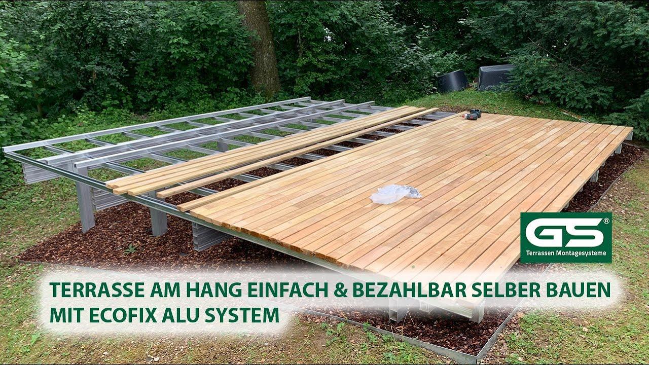 Terrasse am Hang selber bauen mit Aluminium Modulbau für alle Beläge