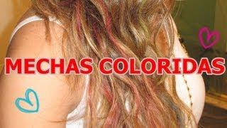 ♥ Como fazer mechas coloridas com giz de cera - temporária - colorir o cabelo com giz !