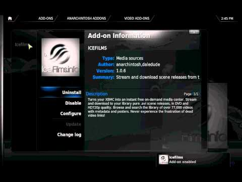 Xbmc tutorial: install Xbmc with Icefilm Video add-ons
