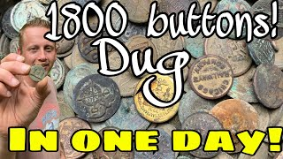 Button Haul! Metal Detecting 1800 Buttons in a Day! Relics Electrolysis Cleaning Button Dump OMG!