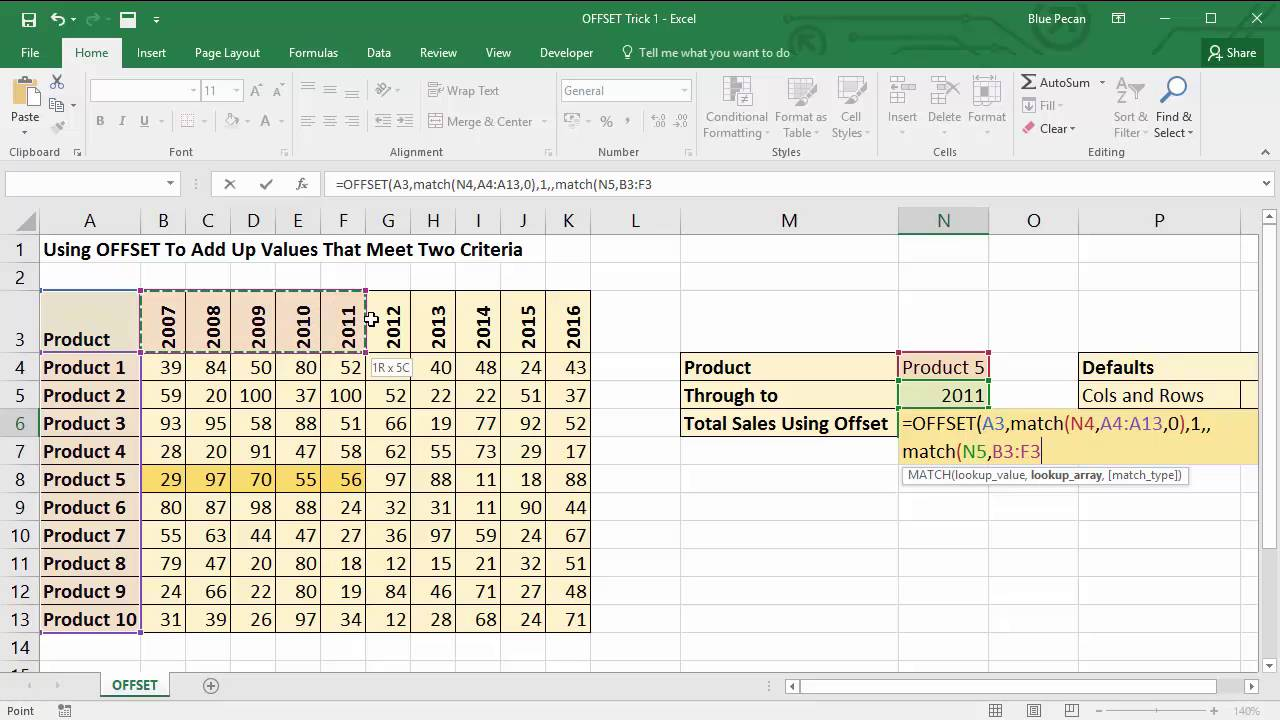 use excel u0026 39 s offset function to sum through to a specified