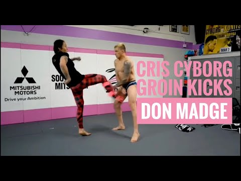 Cris Cyborg kicks UFC Star Don Madge in the groin to test the diamond cup