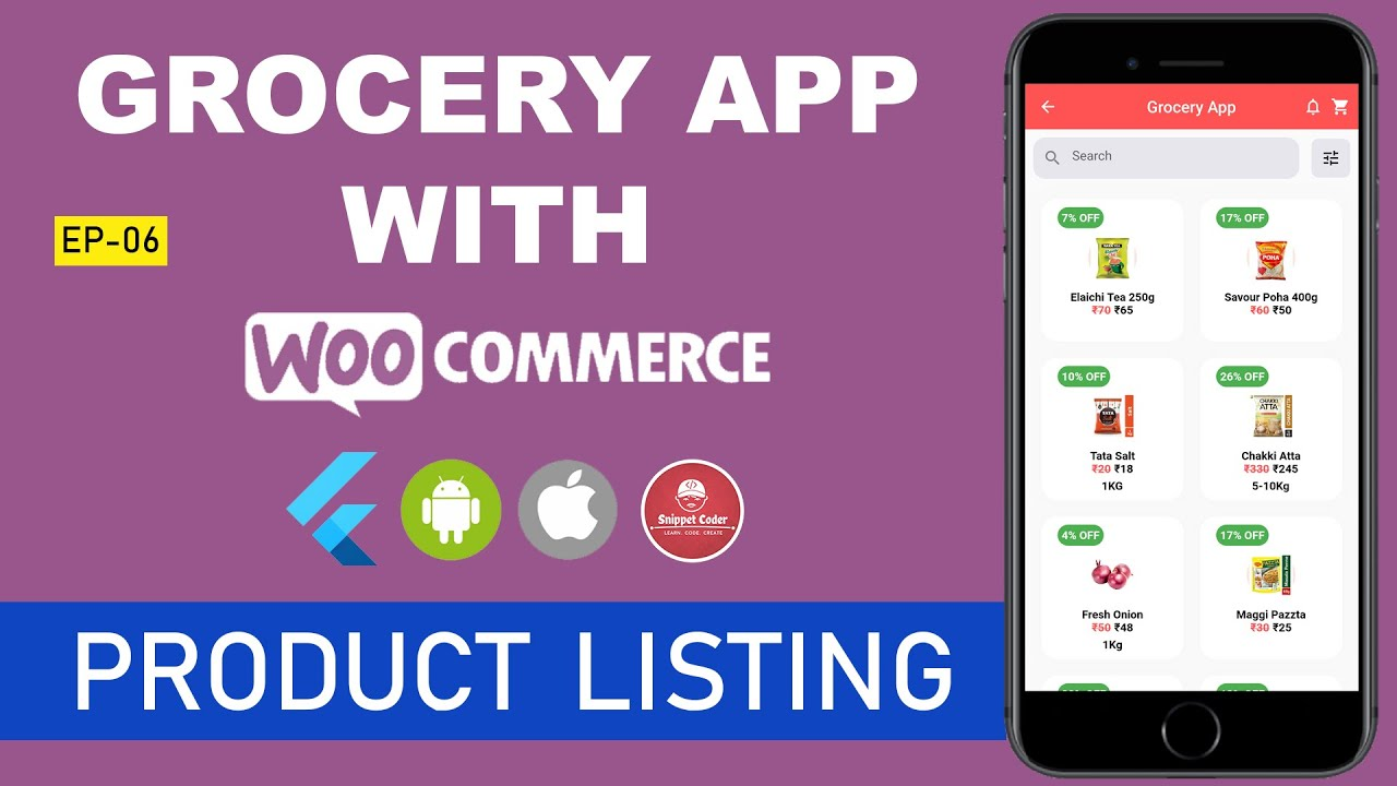 🔥 Flutter - Grocery App - WooCommerce Series 🔥 - EP 06 - Product Listing