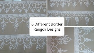 6 Different Border Rangoli Designs | Wall Side Border Rangoli Design