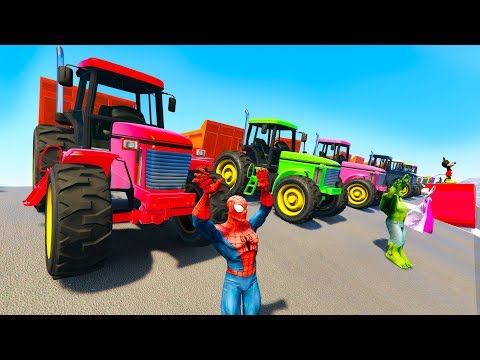 TRACTOR COLORS and FUN BIKES for kids and babies cartoon with superheroes |