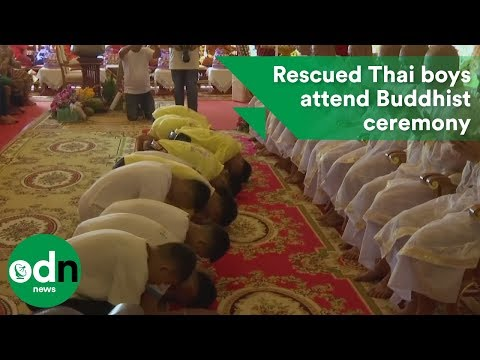 Rescued Thai boys attend Buddhist ceremony