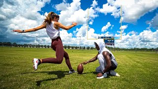 I TAUGHT MY GF HOW TO KICK A FIELD GOAL..  (SHES BETTER THAN ME)