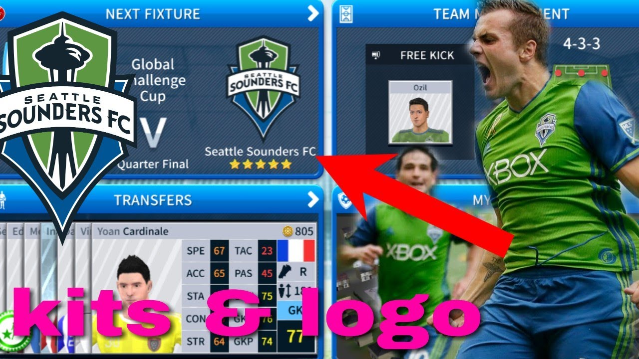 new styles d4967 bdcbf How To Create Seattle Sounders FC Team Kits & Logo 2019 | Dream League  Soccer 2019