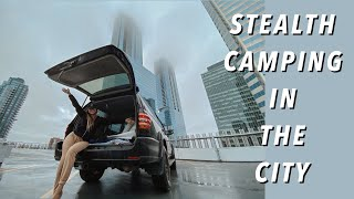 URBAN STEALTH CAMPING IΝ OUR SUV DURING A RAINSTORM 🌧