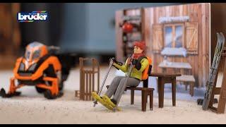 Bruder Toys NEW Bworld Mountain Hut W Snowmobile #63102