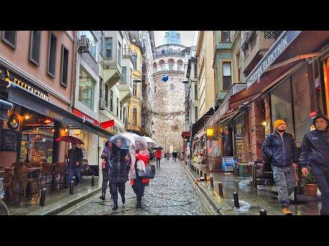 Storm in Istanbul   Walking in Rain from Istiklal Street to Karaköy ☂