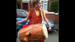 Punjabi Girl With Dhol on Rihana -Rude boy