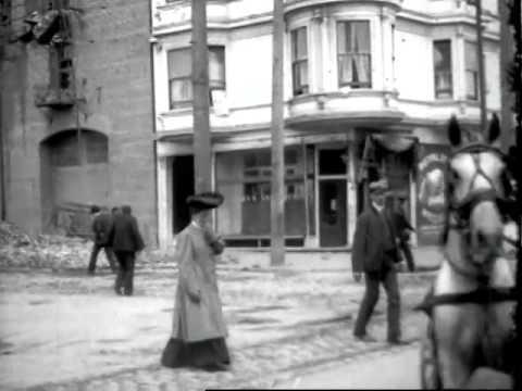 [San Francisco Earthquake Aftermath: Riding Down Market Street] 1906