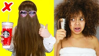 Long Hair VS Curly Hair Struggles & Problems - Life Hacks