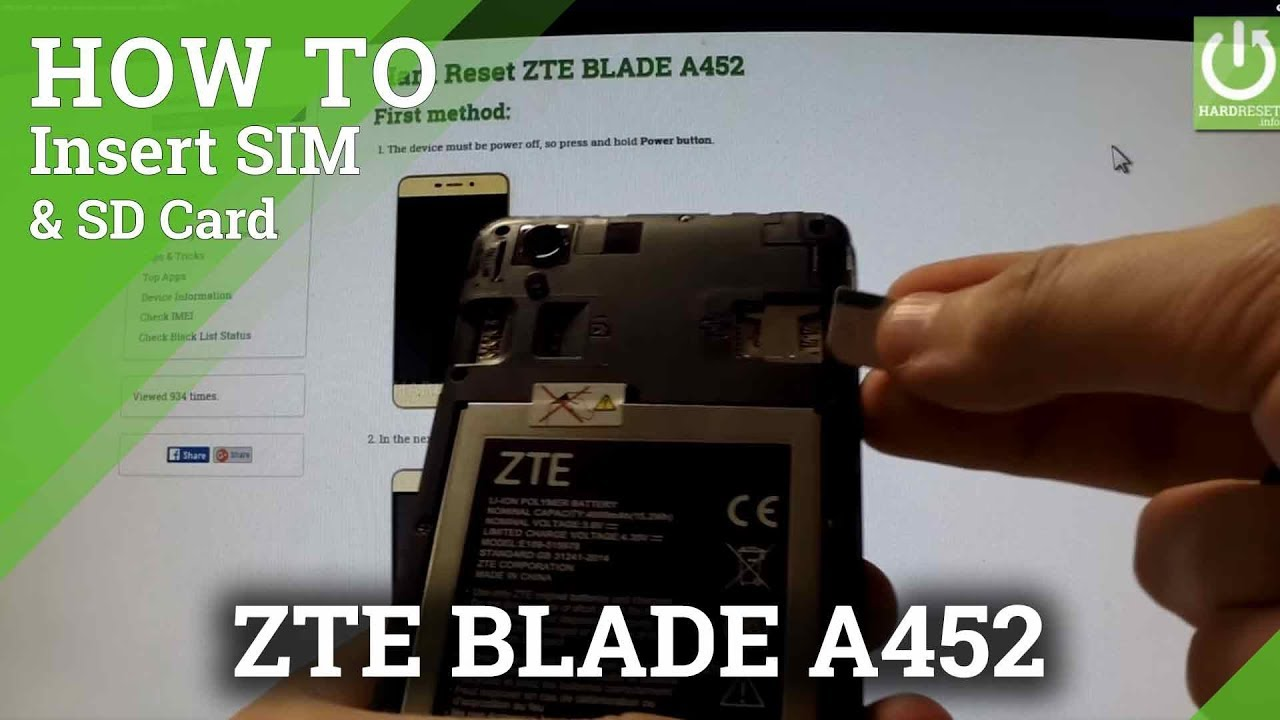 ZTE BLADE A452 - How to Guide how to Insert SIM card