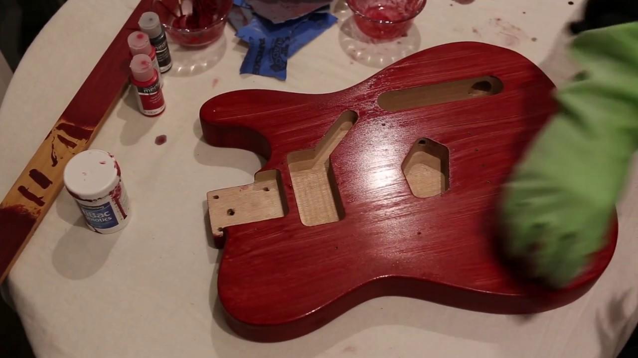 Harley Benton T Style Guitar Kit Build Part 3 Sanding Staining