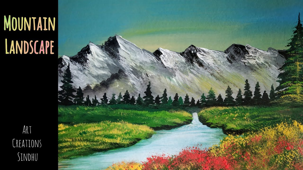 How to Paint Easy Mountain Landscape/Easy Acrylic Painting for  Beginners/Easy Nature Scenery