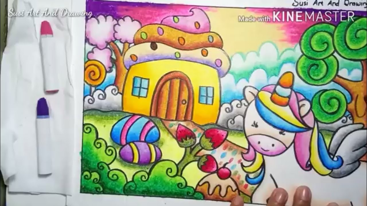 Cara Mewarnai Gradasi Crayon Unicorn In The Candyland