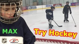 Kids HocKey  Max Finally get out onto the Ice on National Try Hockey for Free Day