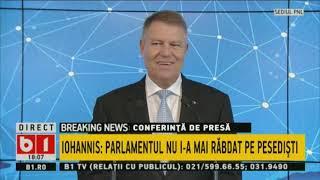 BUNA, ROMANIA! KLAUS IOHANNIS RASPUNDE INTREBARILOR JURNALISTILOR, 13 NOV 2019.P1/2
