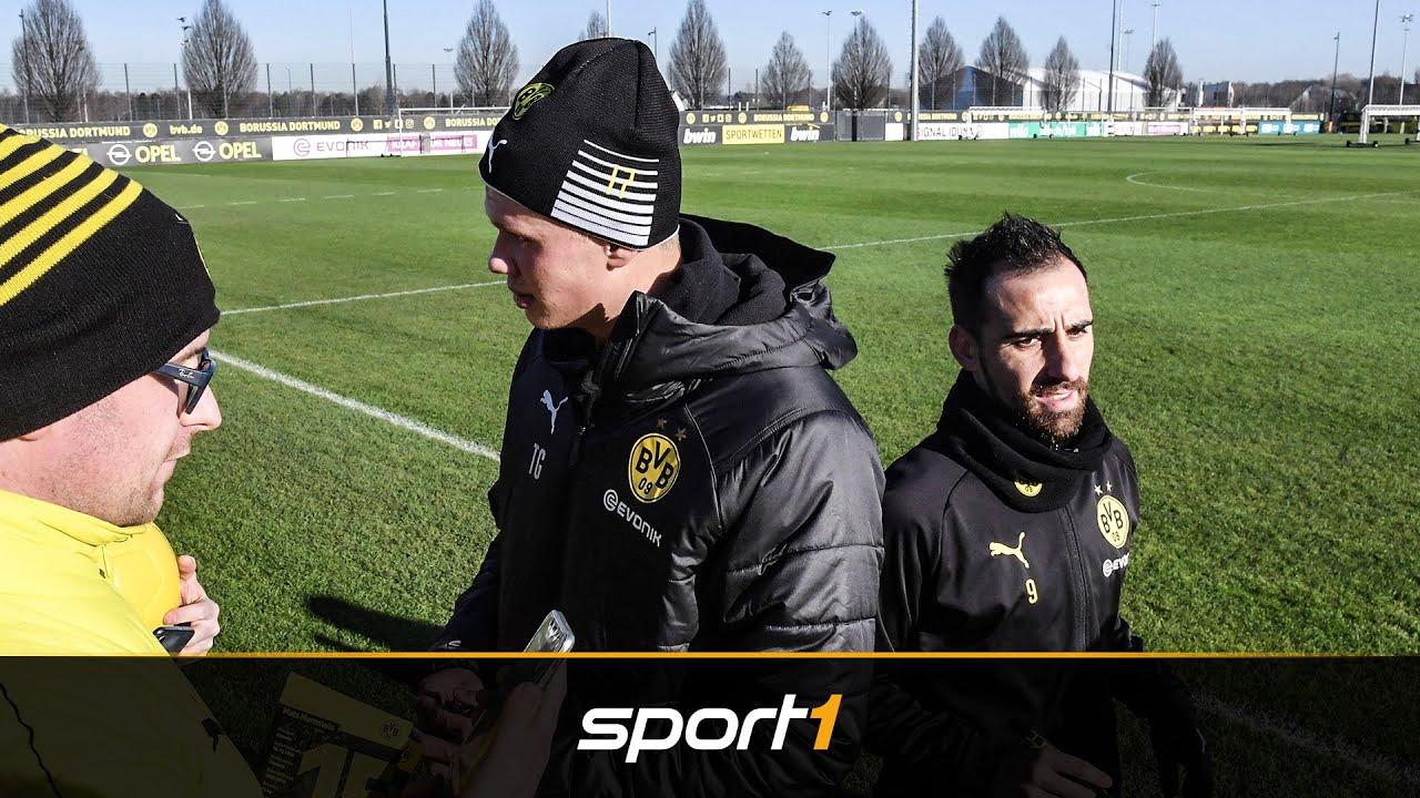 Konkurrenzkampf im BVB-Training? So zeigten sich Haaland und Alcacer | SPORT1