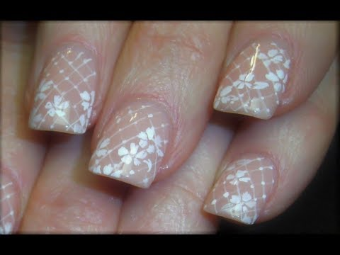 Nail Art Tutorial | White Lace Nails | Elegant Nail Design - YouTube