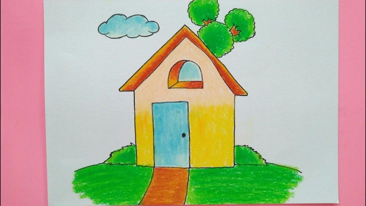 Cara Mudah Menggambar Dan Mewarnai Rumah Untuk Anak SD