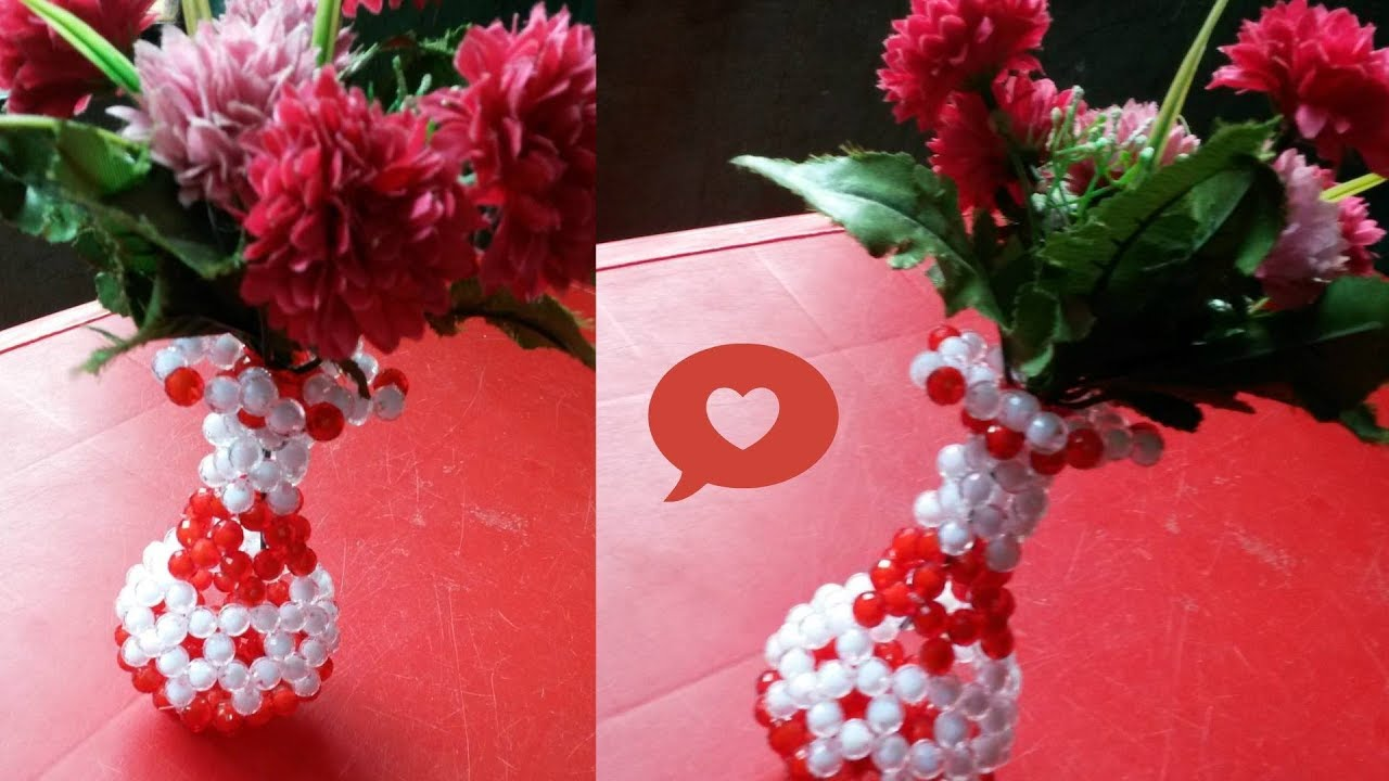Diy crystal beaded flower vase how to make beaded flower vase for diy crystal beaded flower vase how to make beaded flower vase for room decor diy beaded craft ideas floridaeventfo Images