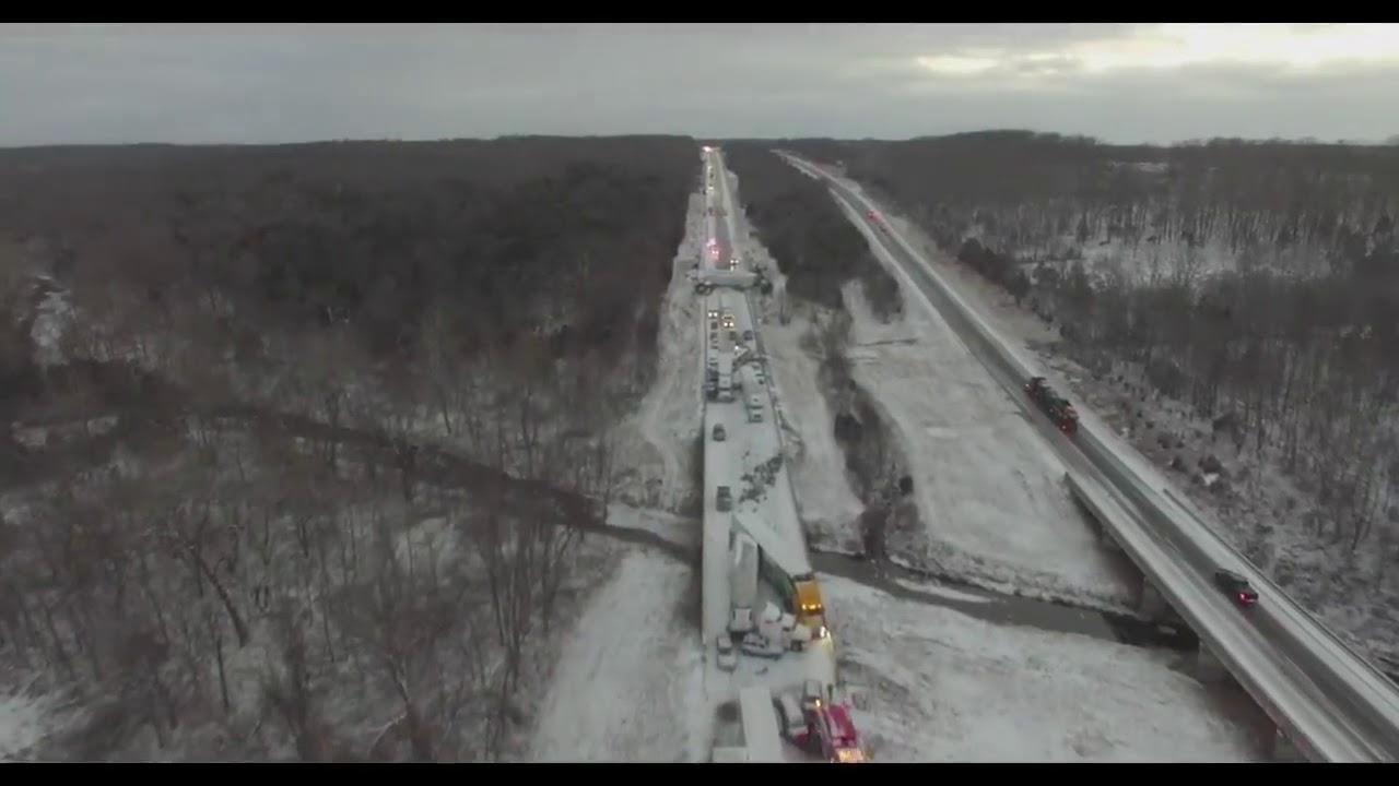 Drone Video: Aerial view of Pile-up Crash on I-44 Near Marshfield, Missouri