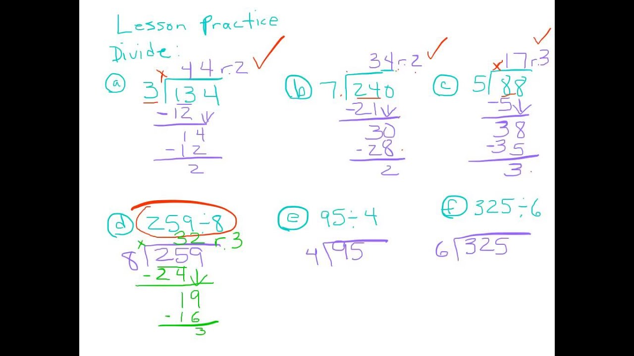 Division With 2 Digit Answer Amp A Remainder