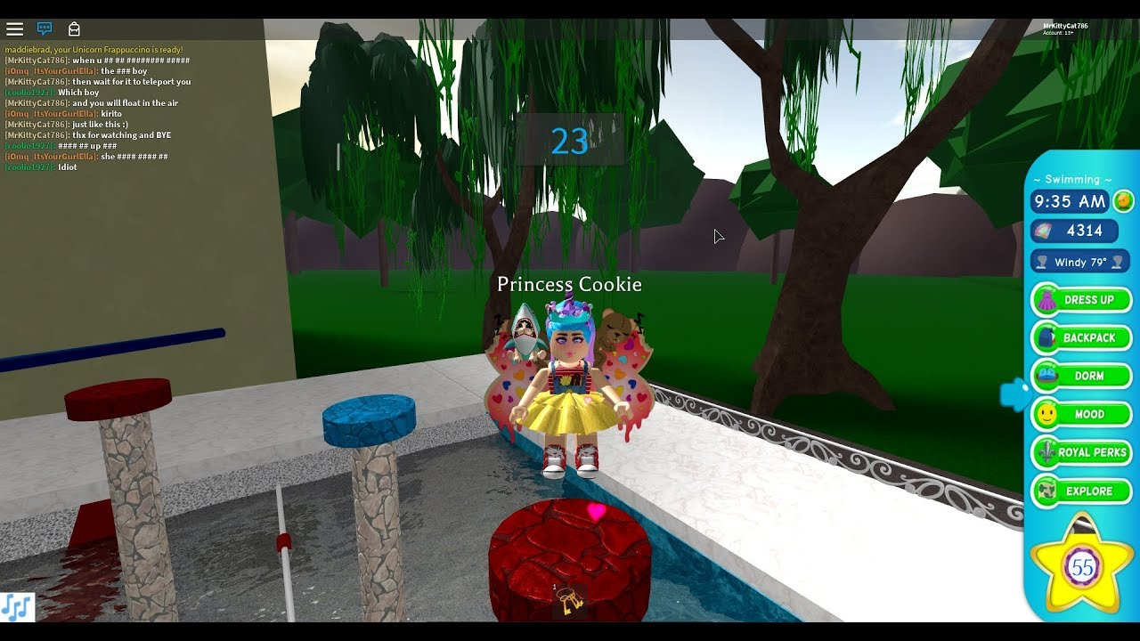How To Swim Down In Roblox Royale High School How To Get How To Glitch In Swimming Class In Royale High Youtube