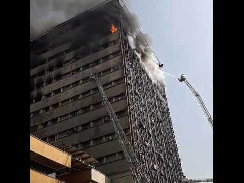 Fountain View Tower in Dubai collapsed due to fire. Steel frame structure melted.