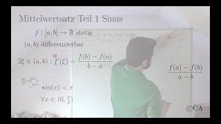 Mittelwertsatz Teil 1 Erklärung Aufgabe sinus sin(x) kleiner x (Analysis)