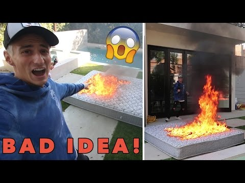 WE LIT A BED ON FIRE! GONE WRONG!