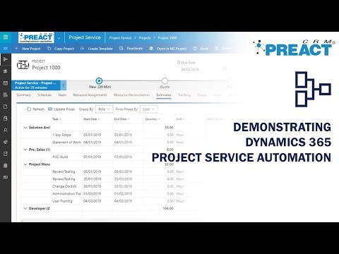 Demonstrating Microsoft Dynamics 365 Project Service Automation (PSA)