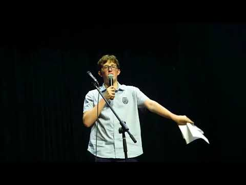 Alec reads his poem at the Berkeley school poetry slam