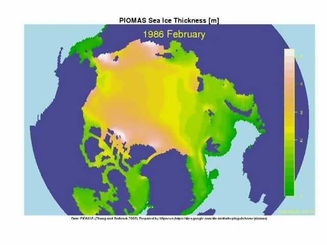 PIOMAS Arctic Sea Ice Thickness Simulation 1978-2011
