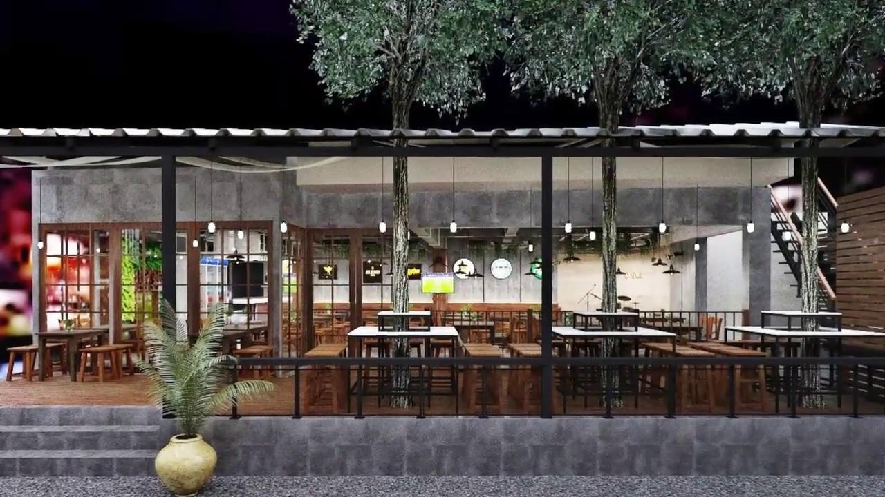 3D Interior Design: Pub \u0026 Restaurant สไตล์ลอฟท์ล้านนา