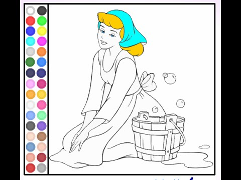 Cinderella coloring pages coloring pages for girls youtube for Cinderella coloring pages games