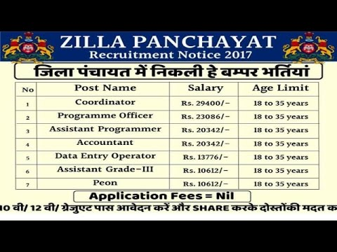 Zilla Panchayat recruitment l jobs l vacancy-2017