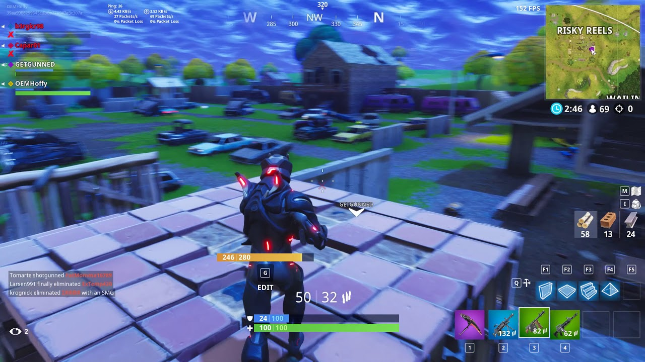 Fortnite epic triple kill !! Outplayed with heavy sniper