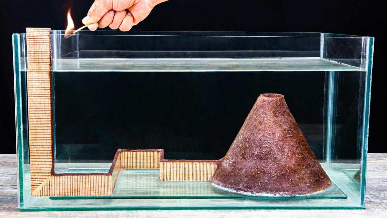 Download Matches Volcano VS Aquarium! Amazing Underwater Chain Reaction