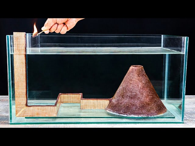 Matches Volcano VS Aquarium! Amazing Underwater Chain Reaction