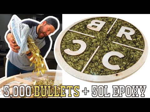 I Pour 5,000 Bullets & 50L Of EPOXY Into A Table!