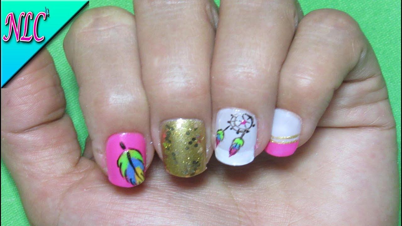 Decoracion de uñas Atrapasueños , Decoracion de uñas pluma , Atrapasueños Nail art , NLC , YouTube