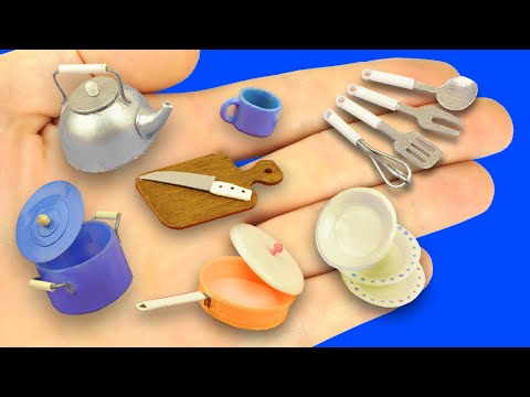 DIY Miniature Kitchen Cookware and Utensils for Dollhouse